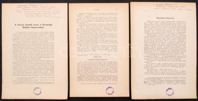 3 db helytörténeti/földrajzi nyomtatvány: A térszíni formák nevei a barcasági Hétfalú helyneveiben. A moldvai Gajcsána helynevei, Máramarosi helynevek