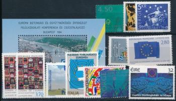 Europe 11 stamps, Európa motívum 11 klf bélyeg közte sorok, blokk