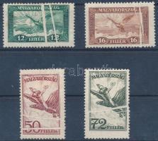 1927 Repülő sor 4 értéke kettős papírránccal / Mi 430-431 + 435-436 with double paper creases