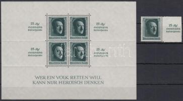 1937 Mi 648 bélyeg + Mi 11 blokk (Mi EUR 360.-) (körömnyomok a blokkon / gum creases)