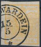 1850 1kr aranyokker / golden ocher HP I. Quadrilliertes Papier, (...)WARDEIN (kis hajtás nyom / light fold)