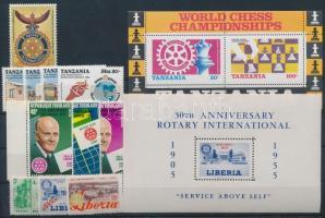 Rotary 1955-1986 11 stamps with sets + 2 block, Rotary motívum 1955-1986 11 klf bélyeg, közte sorok + 2 blokk