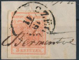 1850 3kr MP III. szép szélekkel / with nice margins CZEGLÉD + kézírással / handwritten Bérmentesítve