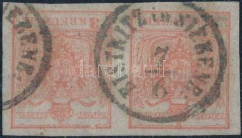 1850 2 x 3kr vízszintes pár / pair HP III. szép szélekkel és lemezhiba a jobb oldali bélyegen a felső keretvonalon / with nice margins and plate variety on the rigth stamp BISTRITZ in SIEBENB