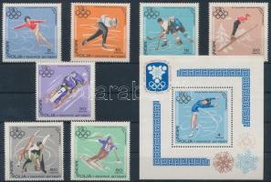 1967 Téli Olimpia sor Mi 472-478 + blokk Mi 13