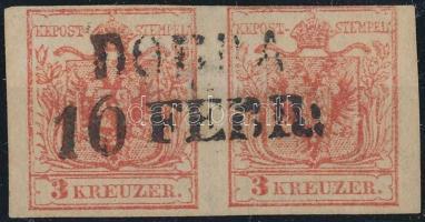 1850 2 x 3kr vízszintes pár / pair HP III. felül részben érintőlegesen vágva, lemezhibák DOBRA (Gudlin: 600 pont)