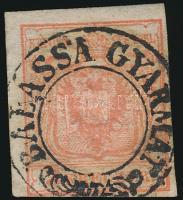 """3kr HP I. b with nice margins """"BALASSA GYARMAT"""" middle part of postmark missing. Certificate: Uwe Steiner, 3kr HP I. b teljes, szép szélekkel """"BALASSA GYARMAT"""" a bélyegző középső része hiányzik Certificate: Uwe Steiner"""