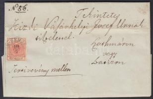 1851 3kr + 6kr HP I. tértivevényes távolsági ajánlott levélen / on registered domestic cover with recorded delivery ÉR-SEMJÉN - SZATHMÁR