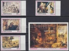Paintings, Rubens set 4 margin values + block, Festmény, Rubens sor 4 klf ívszéli értéke + blokk