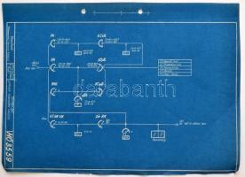 1950 a Sztálin Vasmű (ma: Dunai Vasmű) áramköri leírásai, rajzokkal, mappába fűzve