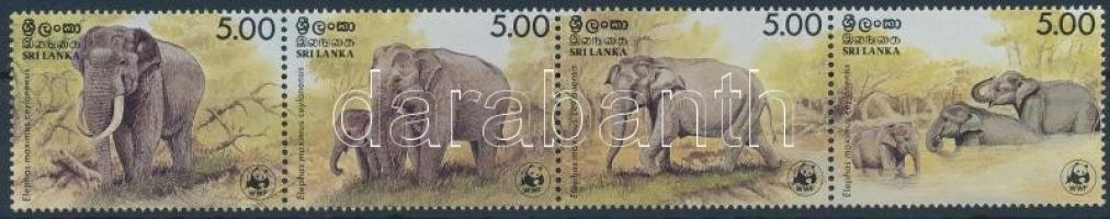 1986 WWF: Elefánt sor vízszintes 4-es csíkban Mi 753-756