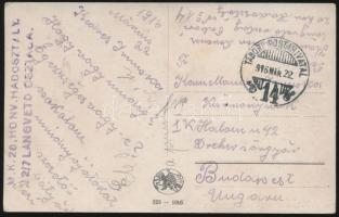 1916 Tábori posta képeslap / Field postcard M.K. 20. HADOSZTÁLY 2/7 LÁNGVETŐ OSZTAGA + TP 14