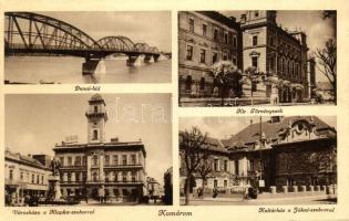 Komárno, bridge, law court, town hall with statue, culture house withj statue, Komárom, Dunai híd, Királyi Törvényszék, városház Klapka szoborral, kultúrház a Jókai szoborral