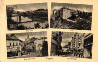 Ungvár, Uzhhorod; Régi híd, vár, Kis híd utca szállóval és drogériával, Korzórészlet / old bridge, castle, street with hotel and drug store, promenade detail (fa)