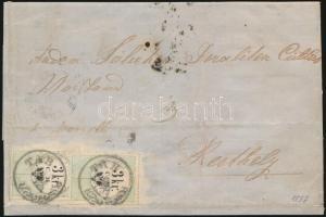 """2 x 3kr C.M. fiscal stamps used as postal on (fortified) folded cover, rare! """"TAB"""" - """"SZEMES"""" - """"MARCZALY"""" - """"KESZTHELY"""", 2 x 3kr C.M. illetékbélyeg postai felhasználása levélen, ritka küldemény (a levél több helyen megerősítve) """"TAB"""" - """"SZEMES"""" - """"MARCZALY"""" - """"KESZTHELY"""""""
