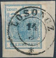 1850 9kr HP I. felül érintőlegesen vágva lemezhiba: fehér volt a bal oldali pajzsvonalon / with plate flaw LOSONCZ
