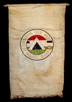 1965 Magyar Camping és Caravanning Club, nagyméretű, hímzett selyem zászló, kissé elszíneződött, 120x70cm/ 1965 Hungarian Camping and Caravanning Club, a large,embroidered silk flag, slightly discolored, 120x70cm