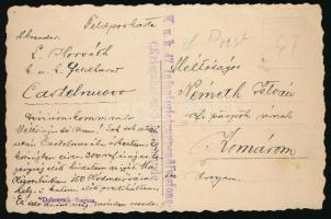 "Field postcard  ""K.u.k. 47. Infanterietruppendivisions - (:Kriegshafen-:) Kommando."", Tábori posta képeslap ""K.u.k. 47. Infanterietruppendivisions - (:Kriegshafen-:) Kommando."""
