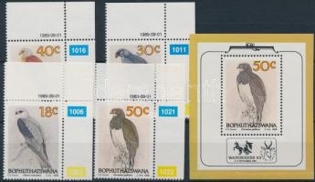 Bird corner set + block (folded in block), Madár ívsarki sor + blokk (hajtásnyom a blokkon)