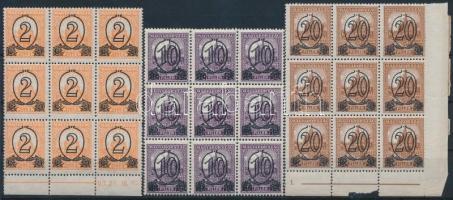 1931 Kisegítő bélyeg (I) B 2f/3f, 10f/16f, 20f/25f kilences tömbökben (58.500) / Mi 471xA, 473xA, 474xA blocks of 9