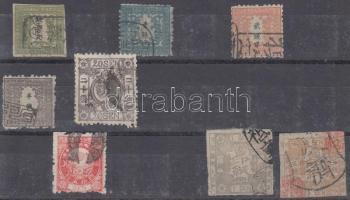 Japán 8 db klasszikus bélyegstecklapon