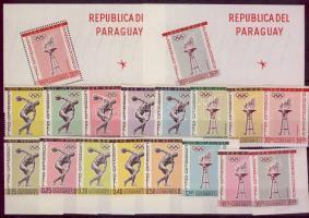 1962 Sport és olimpia fogazott és vágott sor és blokk Mi 1103-1110+1111-1118+blokk 28-29