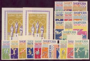 1964 Tokioi Olimpia fogazott és vágott sor+blokk Mi 859-868+870-879+blokk 26A+B