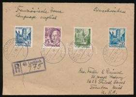 Württemberg 1948 Ajánlott levél az USA-ba / Registered cover to the USA
