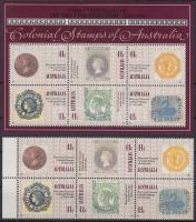 150th anniversary of Stamp margin block of 6 + block, 150 éves a bélyeg sor ívszéli 6-os tömbben + blokk