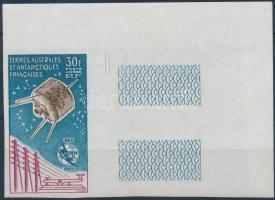 Centenary of ITU corner imperforate stamp with blank field on the right side, 100 éves a Nemzetközi Távközlési Unió ívsarki jobb oldali üres mezős vágott bélyeg