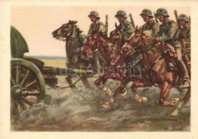 Reitende Batterie, Die Postkarte des Heeres No. 6 / Artillery crew on horseback, German military postcard s: Angelo Jank, Tüzérek lóháton; Die Postkarte des Heeres No. 6 s: Angelo Jank