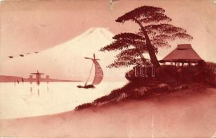 Fuji Mountain, sailship, silhouette