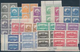 1926 Pengő-fillér (I) A sor négyestömbökben / Mi 411-426 block of 4 (100.000) (apró ráncok / small creases)