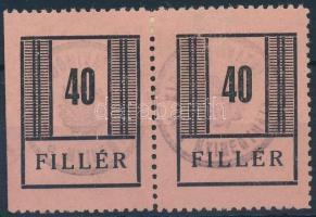 1944 Nyíregyháza I. 40f pár adóhivatali bélyegzéssel (26.000) (vizsgálat nélkül / not signed)