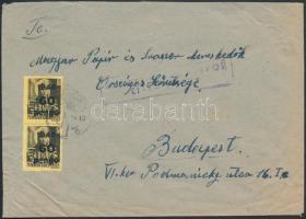 1946 (5. díjszabás) Ellenőrzött távolsági levél Kisegítő III. 60P/18f párral bérmentesítve