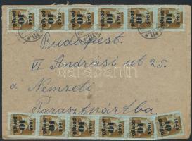 1945 (5. díjszabás) Távolsági levél Kisegítő II. 12x10P/80f bérmentesítéssel