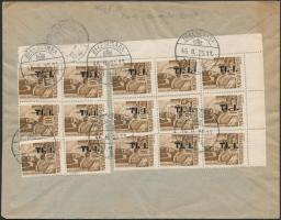 1946 (7. díjszabás) Ajánlott távolsági céges levél Betűs I. Tl.I./10f ívsarki 15-ös tömb bérmentesítéssel