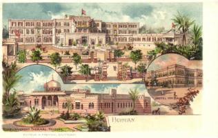 Helwan, Helouan; Grand Hotel, Hotel des Bains, Etablissement Thermal; Editeur H. Freytag, litho