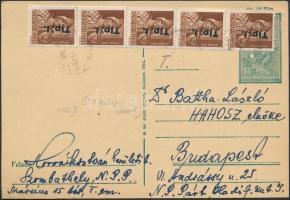 1946 (7 díjszabás) Távolsági levelezőlap Betűs I. Tlp.I./4f ötöscsík bérmentesítéssel