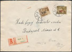 1946 (6. díjszabás) Ajánlott távolsági levél Betűs I. Tl.I/10f + Ajl.I./20f bérmentesítéssel