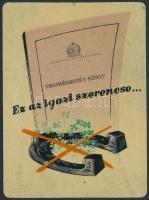 1955 Ez az igazi szerencse... Országos Takarékpénztár fém reklám kártyanaptár, apró kopásnyomokkal
