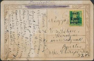 1945 (2. díjszabás) Helyi képeslap Kisegítő II. 1,60P/12f bérmentesítéssel