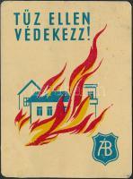 1955 Tűz ellen védekezz! Állami Biztosító, fém reklám kártyanaptár, kis kopásnyomokkal