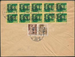 1946 (7. díjszabás) Távolsági levél Kisegítő III. 10x100P/12f + Tlp.I./4f + Tl.I./10f vegyes bérmentesítéssel