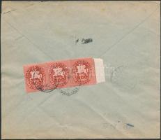 1946 (13. díjszabás) Ajánlott távolsági levél Lovasfutár 500eP ívszéli hármascsík bérmentesítéssel