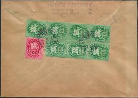 1946 (13. díjszabás) Ajánlott távolsági levél Lovasfutár 100eP + 200eP hetestömb bérmentesítéssel