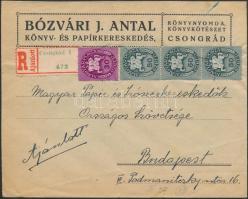 1946 (10. díjszabás) Ajánlott céges távolsági levél Lovasfutár 30eP + 3x50eP bérmentesítéssel