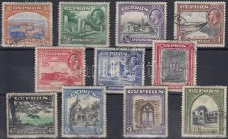 Ciprus 1934 Tájkép sor Mi 118-128 (Mi EUR 150.-) (foghibák / perf. faults)