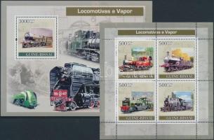 Locomotives minisheet + block, Mozdonyok kisív + blokk
