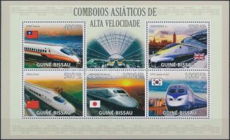 Modern locomotives minisheet + English and Portuguese version block, Modern mozdonyok kisív + angol és portugál nyelvű blokk